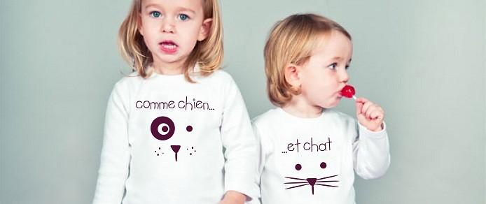 T-shirt comme chien et chat
