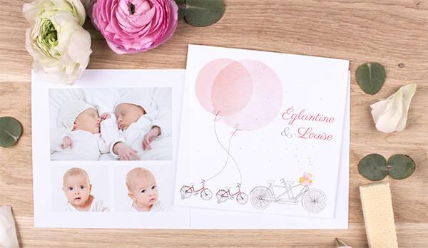 Faire-part naissance jumeaux Bicyclette