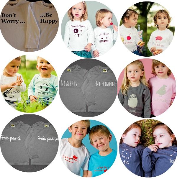 tshirts jumeaux et famille